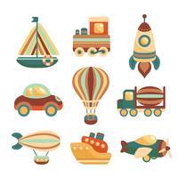 Set di icone di giocattoli di trasporto vettore