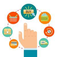 Mano con icone dello shopping online vettore
