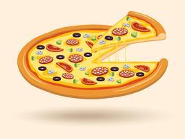 Simbolo della pizza formaggio carne vettore
