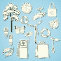 Adesivi ecologici e ambientali bianchi vettore