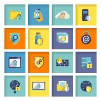 Set di icone di sicurezza della tecnologia dell'informazione