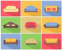Set di icone di divani e divani vettore