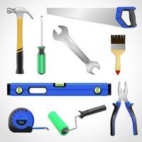 Raccolta realistica delle icone degli strumenti del carpentiere vettore