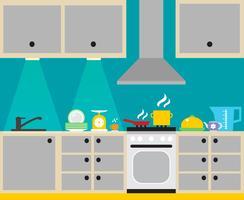 Manifesto interno cucina vettore