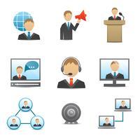 Set di icone di uomini d'affari vettore