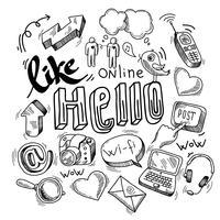 Doodle simboli social media