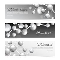 Set di banner di molecole in bianco e nero