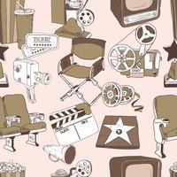 Doodle seamless pattern di cinema