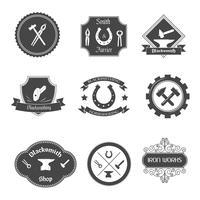 Set di icone di collezione etichette fabbro vettore