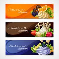 Banner di dolci orizzontali vettore