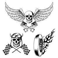 Set di etichette per bici da moto vettore