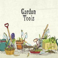 Copertina dell'album degli attrezzi da giardinaggio disegnati a mano vettore