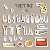 Adesivi di icone di strumenti di lavoro del carpentiere vettore