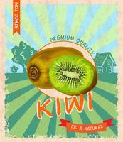 Poster retrò kiwi vettore