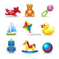 Set di icone di giocattoli per bambini vettore