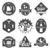Raccolta di distintivi di etichette birra alcol vettore