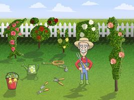 Felice personaggio giardiniere al lavoro