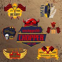 Set di emblemi di moto moto vettore