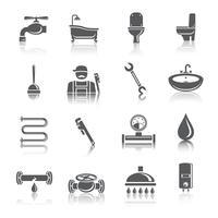 Icone di pittogrammi di strumenti idraulici vettore