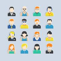 Set di adesivi personaggi avatar vettore