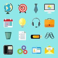 Set di icone piane di affari