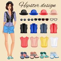 Elementi di ragazza hipster vettore