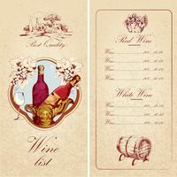 Modello di lista dei vini