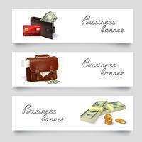 Bandiere di affari di denaro valigetta vettore