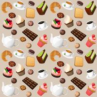 Sfondo senza giunte di caffè e dolci vettore