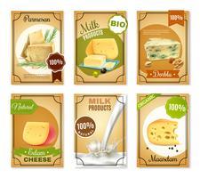 Banner verticali per prodotti lattiero-caseari vettore