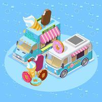 Poster di composizione isometrica di camion di cibo