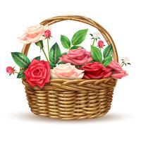 Immagine realistica del cestino di vimini dei fiori delle rose vettore