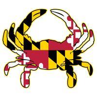 Illustrazione di vettore isolata granchio della bandiera di Maryland