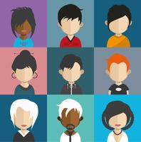 Avatar di persone con sfondi colorati vettore