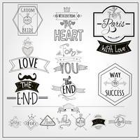 Raccolta di lavagna di emblemi di retro slogan doodle