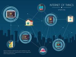 Poster di sfondo della cucina di Internet Of Things vettore