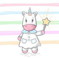 Illustrazione di unicorno carino e divertente. Trucco magico e bacchetta