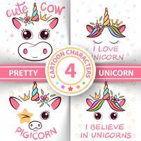 Unicorno, maiale, mucca, toro - illustrazione del bambino. idea per t-shirt stampata. vettore