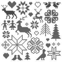 grafica con motivi nordici ricamati in nero