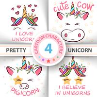 Unicorno, maiale, mucca, toro - illustrazione del bambino. idea per t-shirt stampata.