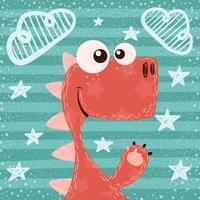 Cartone animato divertente carino, illustrazione di dino.