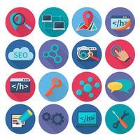 icone di seo marketing piatte vettore