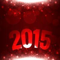2015 scritto in curva su sfondo rosso con fiocchi di neve vettore