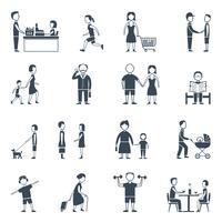 Set di icone piane di vita quotidiana vettore