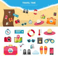 Icone di concetto di viaggio di vacanze estive messe