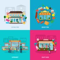 Set di icone di diversi negozi