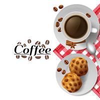 Caffè con l'illustrazione della composizione della prima colazione dei biscotti
