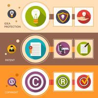 Set di banner di protezione idea brevetto vettore