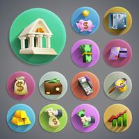 Set di icone di attività bancarie vettore