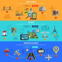 Set di banner piatto viaggi e navigazione